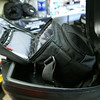 Camera case in top box, situated to allow quick access to DSLR