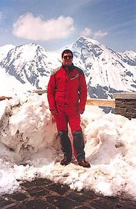 May 24, 1995 - Grossglockner Hochalpenstrasse, Austria.<br /> <br /> A view of myself taken at the Fuschertörl (2428 m asl) with the Grossglockner (3798 m asl) in the background.