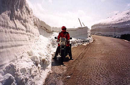 May 24, 1995 - Grossglockner Hochalpenstrasse, Austria.<br /> <br /> This is a view of the short section of cobblestone road between the Fuschertörl and the Edelweiss Spitze. There was about 2 meters of snow along this section of road and as much as 3 meters of snow along other sections.