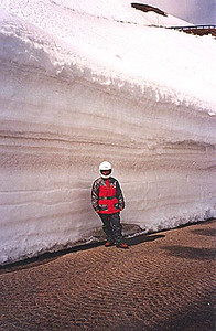 May 24, 1995 - Grossglockner Hochalpenstrasse, Austria.<br /> <br /> This is a view of the short section of  cobblestone road between the Fuschertörl and the Edelweiss Spitze. You thought you had snow piled up alongside your driveway. My passenger is about 1.6 meters tall.