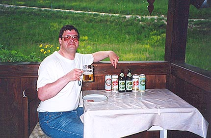 May 26, 1995 - Graf Ferienwohnung am Mondsee, Unterach, Austria.<br /> <br /> There's nothing like a few beers after a long day on the road. I think I'm sampling this one. Most of the beers are brewed locally within the region, although others brands are also available.