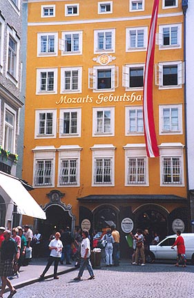 May 26, 1995 - Salzburg, Austria.<br /> <br /> This is a view of Mozart's Geburtshaus (birthplace) located in the old part of Salzburg on Getreidegasse. Getreidegasse is a narrow promenade packed with small boutiques and restaurants. Unfortunately, a McDonalds has made its way here as well ... sort of takes away from the old world charm.