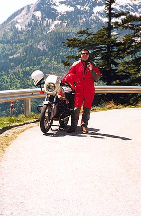May 23, 1995 - Loser Panorama Strasse, Altaussee, Austria.<br /> <br /> Does this rider look happy or what? This is real riding and I haven't even reached the really great roads yet.