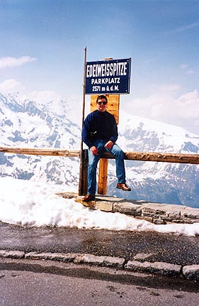 May 24, 1995 - Grossglockner Hochalpenstrasse, Austria.<br /> <br /> A view of myself at the Edelweiss Spitze (2571 m asl). This is the highest point along this road. A restaurant, 2 souvenir shops, as well as an excellent scenic viewpoint are located here.