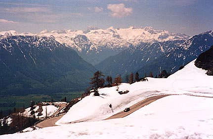 May 23, 1995 - Loser Panorama Strasse, Altaussee, Austria.<br /> <br /> The view from the scenic viewpoint at the top of the Loser Panorama Strasse. The road was dry with the exception of some daytime runoff here and there. In the background, Hoher Dachstein at 2995 meters can be seen. An aerial car can be taken to the top of this mountain.