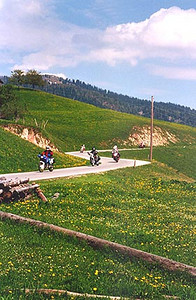 May 25, 1995 - Postalm Strasse, near Wolfgangsee, Austria.<br /> <br /> The Postalm Strasse toll road (ATS 50) doesn't take you to any great heights but it does provide one with some of the nicest riding. This road starts in the town of Strobl and leads to a plateau at 1284 m asl before descending down the other side to the town of Rigausau. Since the road tops at 1284 m asl, you are always below the tree line. Once above an altitude of about 1500 m asl, the tree line ceases providing unimpeded views but terrain that tends to look barren.