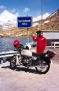 June 11, 1996 - Passo dello San Gottardo a.k.a. St. Gotthardpass, Switzerland.<br /> <br /> The St. Gotthardpass (2091 m asl) lies between the towns of Hospental, just West of Andermatt and Airolo. There are two roads leading over this pass, the original and the newer, less interesting paved section. Unfortunately, the older road was closed for some reason. From the town of Airolo, head West to the Passo della Novena a.k.a. the Nufenenpass.