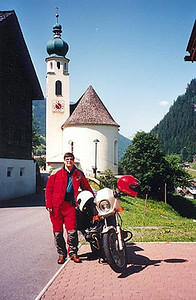 June 08, 1996 - Landhaus Granig bed & breakfast, See, Austria.<br /> <br /> This is the kind of shot that I can't resist taking. I am parked on the front patio of the Landhaus Granig in the town of See. See is on Federal Road 188 about 12 km to the West of Landeck, Austria. The 188 leads you to the Silvretta-Hochalpenstrasse and then ends further west in the town of Bludenz.