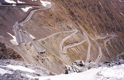 June 07, 1996 - Passo dello Stelvio a.k.a. the Stilfser Joch, Italy.<br /> <br /> This is a view of the road leading up from the town of Trafoi that lies to the East. A few more hairpins and you're at the top.