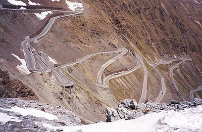 June 07, 1996 - Passo dello Stelvio a.k.a. the Stilfser Joch, Italy.  This is a view of the road leading up from the town of Trafoi that lies to the East. A few more hairpins and you're at the top.