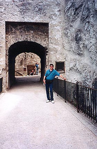 June 12, 1997 - Salzburg, Austria.<br /> <br /> This is the view of the main entrance to Festung Hohensalzburg (castle). The castle can be reached either on foot or by the Festungsbahn, a cogged rail car.