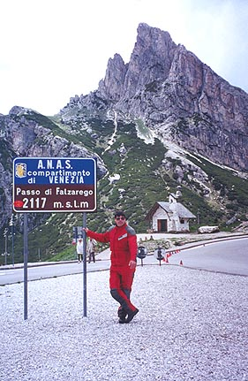 June 17, 1997 - Passo di Falzarego, Italy.<br /> <br /> The road heading West out of Cortina d'Ampezzo takes you through a series of passes arranged in a horizontal figure eight loop. Passo di Falzarego  (2117 m asl) is the first one along the way before reaching Passo Pordoi, Passo Sella, Grödner Joch, Passo di Campolongo and Passo di Valparola.