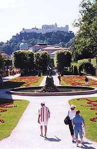 June 12, 1997 - Salzburg, Austria.  This is a view of the Mirabellgarten with the Festung Hohensalzburg (castle) on the hilltop in the background. If I had my choice of cities to live in, this would be it. My mom had the pleasure of living here and studying music at the Mozarteum back in the late 40s and 50s. Things weren't quite so rosy back then though. Is this home? Yes, its also heaven.