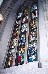 June 12, 1997 - Salzburg, Austria.  And now, for a bit of history. Pictured here is the middle window of three in the church at Stift Nonnberg. In 1480, one of my ancestors was the town councilor of Salzburg. He commissioned Peter Hemmel to create these stained glass windows for the new church. On the bottom right, our family coat of arms.