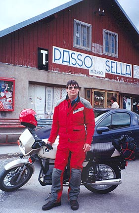 June 17, 1997 - Passo Sella, Italy.<br /> <br /> Passo Sella (2244 m asl) is the furthest West along the horizontal figure eight loop around the Cortina d'Ampezzo area. Unfortunately, not much of a photo as far as scenery is concerned, as I was short on a riding companion this year and I therefore couldn't get too picky as to where the photograph was taken.