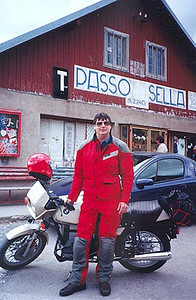 June 17, 1997 - Passo Sella, Italy.  Passo Sella (2244 m asl) is the furthest West along the horizontal figure eight loop around the Cortina d'Ampezzo area. Unfortunately, not much of a photo as far as scenery is concerned, as I was short on a riding companion this year and I therefore couldn't get too picky as to where the photograph was taken.