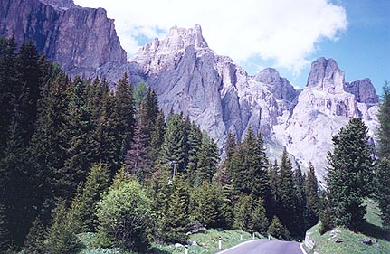 June 17, 1997 - Between Passo Pordoi and Passo Sella, Italy.<br /> <br /> This is the kind of road and scenery you can expect. As you near the passes, be prepared for countless hairpins.