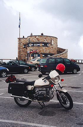June 14, 1997 - Grossglockner Hochalpenstrasse, Austria.<br /> <br /> This is the view of my 1980 BMW R65 on the Edelweiss Spitze (2571 m asl) on top of the Grossglockner Hochalpenstrasse. I drove this pass back in 1995 and had so much fun, I forced myself to take it again. The weather to the North was sunny with clouds, and to the South, cloudy with rain. What a drastic change.