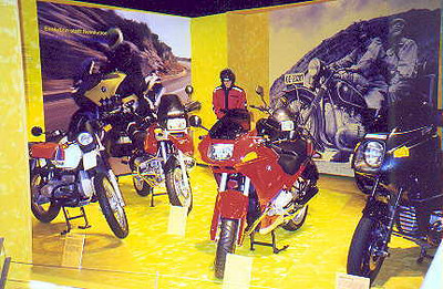 June 27, 1998 - BMW Museum, München Germany.<br /> <br /> One of the numerous displays dedicated to the 75th anniversary of BMW motorcycles. BMWs of the 80s and 90s. From left to right; the older R80 G/S PD, the new R1100GS, the new R1100RSL and the older R100RT.