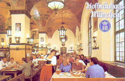An interior view of the Hofbräuhaus in München. You'll meet a lot of tourists here.