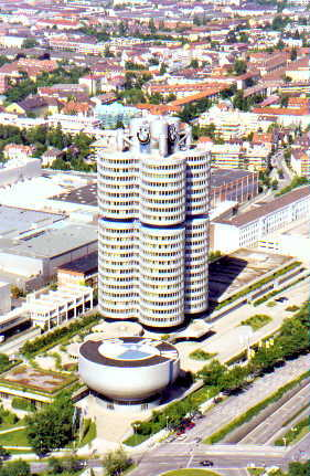 June 21, 1998 - BMW Museum and Headquarters, München, Germany.<br /> <br /> This view of the BMW Museum and headquarters was taken from the Olympiaturm (olympic tower) located in the olympic park. BMW's headquarters is arranged in the shape of four cylinders; fitting for an automobile and motorcycle manufacturer.