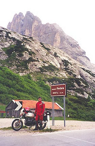 June 29, 1999 - Passo Fedaia, Italy.<br /> <br /> Passo Fedaia (2057 m asl) leads into the town of Canazei to the west. Just east of the pass from the town of Sottoguda, a narrow road within a gorge follows the main road and rejoins to the west of the pass. This road is marked off as closed to traffic.