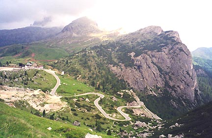 June 29, 1999 - Passo Valparola, Italy.<br /> <br /> Passo Valparola (2192 m asl) is part of the horizontal figure eight loop of passes between the town of Cortina d'Ampezzo in the east and Canazei in the west. Just south of the fort shown in the previous photo, Passo di Falzarego comes into view.