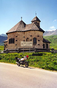 June 25, 1999 - Passo San Pellegrino, Italy.  Passo San Pellegrino (1918 m asl) is located on route 346 just east of the town of Moena, Italy.