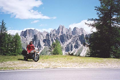 June 16, 2000 - Passo Giau, Italy.<br /> <br /> Approaching from Cortina d'Ampezzo, Italy, this is the view to expect 1.8 kilometers before reaching the top of Passo Giau.