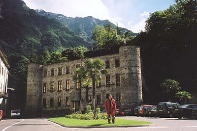 June 19, 2001 - Piazza Castello (Castle Square), Chiavenna, Italy.  In the early times, it was called Granda Square. The Castello was the residence of Conti Balbiani, feudatory of the Valchiavenna in the 1400s. The Grigioni destroyed most of the castle in 1525. The façade and the towers are the only original parts of the present building, which was restored in the 1930s.