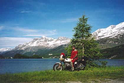 June 20, 2001 - Lago da Segl, Switzerland.<br /> <br /> Lago da Segl lies on the Malojapass. Towards the northeast, the Silvaplaner See and then the town of St. Moritz, Switzerland.