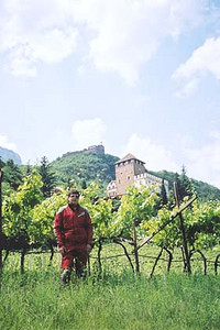 June 15, 2001 - Missian, Italy.  The town of Missian is a few kilometers west of Bozen (a.k.a. Bolzano). Hotel Schloss Korb lies in the foreground behind me, while Schloss Boymont, accessible by foot only, is situated on the hilltop in the background. The Bozen area is lined with fruit trees as can be seen by the trees behind me.