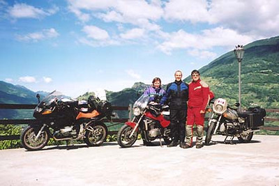 June 18, 2001 - Motta, Italy.  You meet some of the nicest people on motorcycles. I met Gaby and Rudi at the hotel I was staying at in the town of Corteno Golgi while having breakfast. We were all leaving that day for another area so we rode together till we parted on our separate ways; I went towards Lago di Como, they went towards Passo Stelvio. Before doing so, they invited me to stay over at their place while on my way back to Germany. This was a much welcomed invitation since I usually ride 800 to 1000 kilometers on the last day of my tour to get back to my home base. Their invitation cut my ride in half. We had an excellent dinner with their relatives and friends the evening of my arrival and an equally good breakfast the following morning. Rudi and Gaby then took me on a sightseeing tour of Speyer with its nearly 1000 year old Speyer Dom (Cathedral).