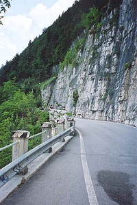 June 14, 2001 - Mendelpass, Italy.  Also known as the Passo della Mendola, this pass is located just west of Bozen (a.k.a. Bolzano). This section of road follows the edge of the mountain some four kilometers northeast of the pass itself. There are a few widened areas where you can stop and overlook the valley that Bozen lies in. Just to the northwest, lies the Gampenpass (a.k.a. Passo Palade), between the towns of Fondo and Meran (a.k.a. Merano).