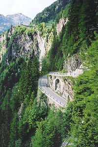 June 19, 2001 - Splügen Pass, Italy / Switzerland.  The south approach to the Splügen Pass is equally exciting with countless hairpins along the vertical edge of the mountain.