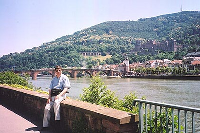June 26, 2002 - Heidelberg, Germany.  As much fun as these road trips are, they can be tiring, enough so that I picked up a very bad summer flu and had to cut my riding tour short by a few days. I wasn't fit enough to ride, but that didn't stop me from enjoying the local breweries. After all, a cold beer was the best way I knew of to reduce my temperature. I'm sure I read that somewhere. I had been in Heidelberg back in 1996, but only for a few hours or long enough to pick up a beer mug to add to my collection. I could easily live there.