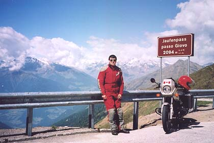 June 13, 2002 - Jaufenpass, Italy.<br /> <br /> The Jaufenpass (2094 m asl) lies between the towns of Sterzing and St. Leonhard i. Passeier. I would have to say that the best part of this pass lies between the pass itself and the town of St. Leonhard i. Passeier. This is where I came across a group of riders participating in an Edelweiss tour. I later met two of them at the 2002 BMW MOA Rally in Trenton, Ontario.