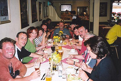 June 19, 2003<br /> Alter Brunnen, Serfaus, Austria.<br /> <br /> Party time after a long day on the road. Rudi and Gaby, riders that I had met two years earlier at a hotel in Corteno Golgi, talked me into meeting them and other riders from their area in Serfaus. Sometimes we all rode together, and other times we all split up to do our own thing. Seated left to right: Rolf, Rudi, Gaby, Sabine, Rudiger, Rheinhold (at the end), Hans, Traudi, Fred, Albrecht and Margot.