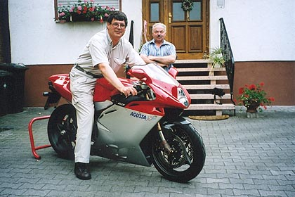 June 23, 2003<br /> Motorcycle Heaven, Germany. <br /> <br /> Having the chance to sit on an MV Agusta F4 is a treat. Standing next to me is the owner, Albrecht, who also owns a Bimota YB11 that is set up with racing slicks and an endless list of serious upgrades. The Hockenheim race track is nearly, where Albrecht and his friends turn in some hot laps on evenings when the track is open to the public. His touring bike is a Yamaha R1.