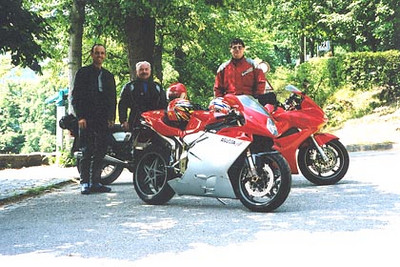 June 25, 2003<br /> Schloss Eberstein, Obertsrot, Germany.<br /> <br /> Rudi, Albrecht and I took a run through some nice twisty and hilly roads in the Black Forest. Rudi is on his 2002 Honda VFR800 and Albrecht, on his 2000 MV Agusta F4. Rudi and I both had a chance to ride the MV Agusta F4. As uncomfortable as it was for someone my size, it was still a thrill to have been given the opportunity to ride an MV Agusta.