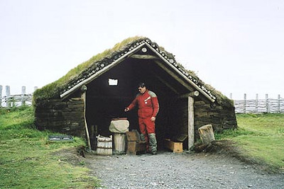 August 18, 2003 L'Anse aux Meadows, Newfoundland.  The iron worker's hut. I wonder if I can make a spare master link for my drive chain?