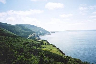 August 15, 2003 Cabot Trail at Cap Rouge, Cape Breton, Nova Scotia.  The view from Cap Rouge towards Presqu'ile along the Cabot Trail.