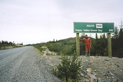 August 21, 2003<br /> Churchill Falls, Labrador.<br /> <br /> On the opposite side of the Trans Labrador highway from the photo above, a reminder of what was behind me; 285 kilometers of dust and gravel.
