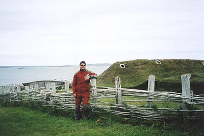 August 18, 2003 L'Anse aux Meadows, Newfoundland.  Parks Canada built these wood-framed peat-turf dwellings next to where the excavations took place in the early 1960s.