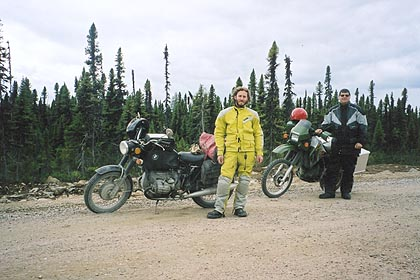 August 20, 2003<br /> 97 kilometers north of Port Hope Simpson, Labrador.<br /> <br /> While on my way up to Cartwright, Labrador, I came across a BMW rider from Colorado riding a 1973 R75/5 coming from the opposite direction while I had stopped to lube my chain. It must have been slow going as his motorcycle was equipped with street tires.