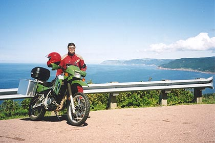 August 15, 2003<br /> Cabot Trail at the lookout overlooking Pleasant Bay, Cape Breton, Nova Scotia.<br /> <br /> There are numerous places along the Cabot Trail to pull off for a pic-nic or a photo opportunity.