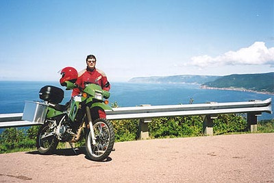 August 15, 2003 Cabot Trail at the lookout overlooking Pleasant Bay, Cape Breton, Nova Scotia.  There are numerous places along the Cabot Trail to pull off for a pic-nic or a photo opportunity.