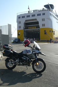 June 23, 2006 - Livorno, Italy.  Arriving at the Livorno ferry port abord a Corsica Ferries ferry.  GPS N43° 33.083'  E010° 18.074