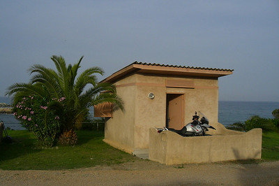 June 20, 2006 - Hotel Mare e Festa, Solenzara, Corsica.  My cabin overlooking the Mediterranean Sea to the east.  GPS N41° 51.333' E009° 24.070'