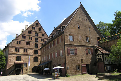 July 04, 2006 - Maulbronn, Germany.  The view of some of the buildings in Kloster Maulbronn from where I was sitting having lunch.  GPS N49° 00.025'  E008° 48.670'